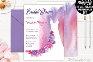 watercolor bridal shower invitation