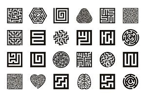 Labyrinth icon setLabyrinth icon set