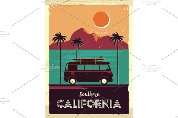 Grunge Retro Metal Sign With Palm Trees And Van Surfing In California Vintage Advertising Poster Old Fashioned Design