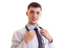 Young man in doctor gown