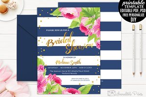 Navy and Gold Bridal Shower Invite
