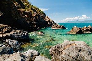 picturesque ocean lagoon beach