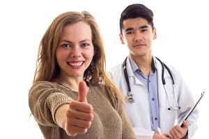Male doctor and young woman