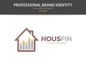 Logo Combination Of Graph And House