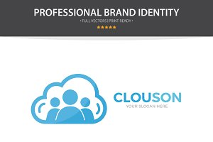 Logo Combination Of Cloud And People