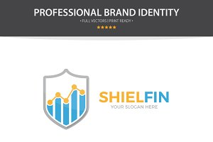 Logo Combination Of Graph And Shield