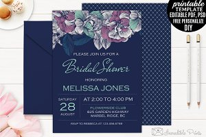 Mint and Navy Bridal Shower Invite