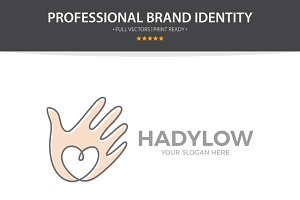 Vector Hand With Heart Logo Design