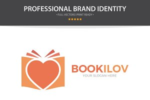 Logo Combination Of Heart And Book