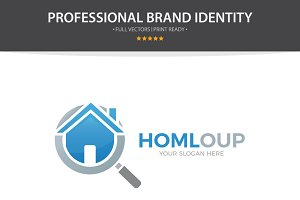 Logo Combination Of Loupe And House