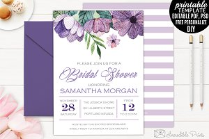 Watercolor Bridal Shower Invtation