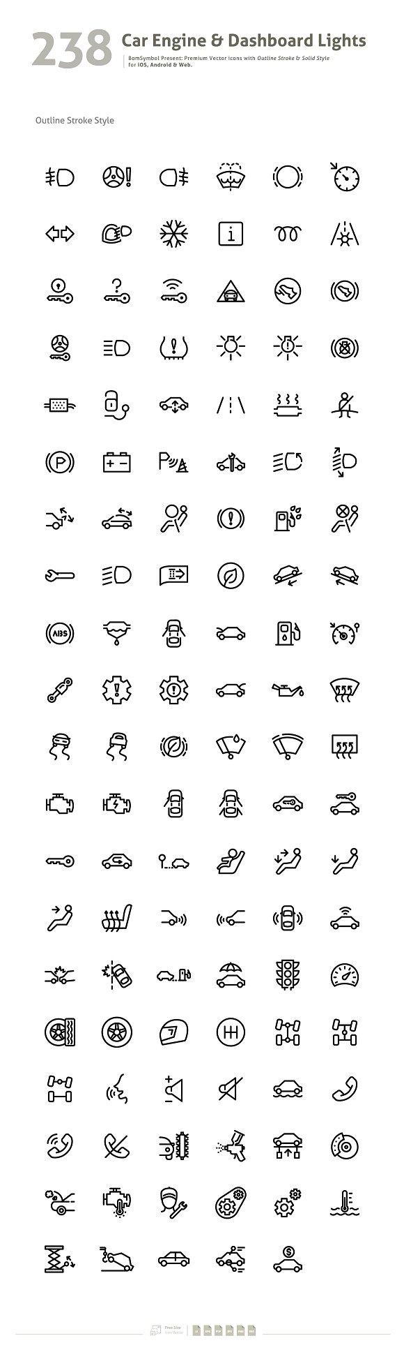 Car engine dashboard lights symbol icons creative market buycottarizona Image collections
