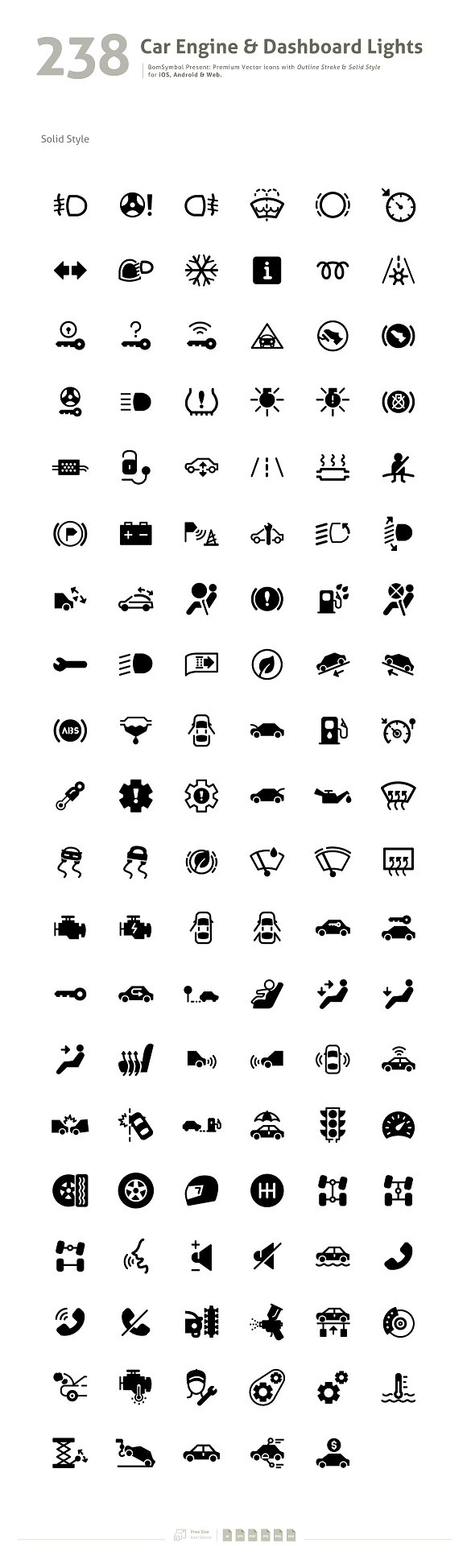 Car Engine Dashboard Lights Symbol Icons Creative Market