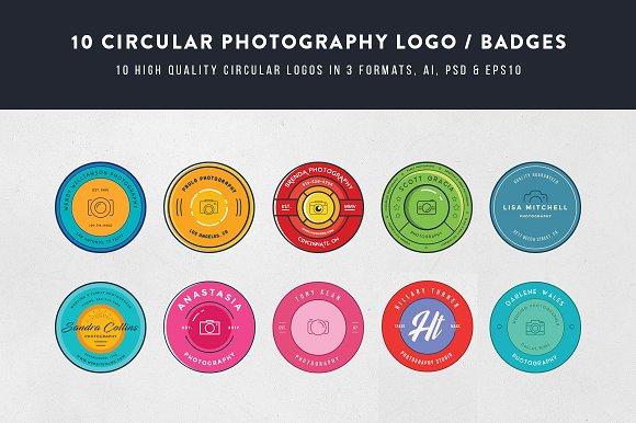 10 Circular Photography Logos Badges