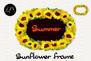 ♥ vector Sunflower Frames 03