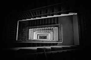 long stairway down monochrome
