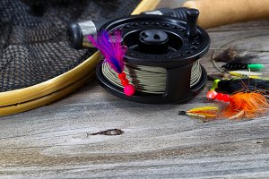 Fishing Reel with Fly Jig on Spool