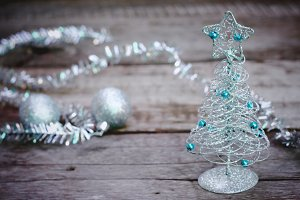 Silver christmas tree and ornaments