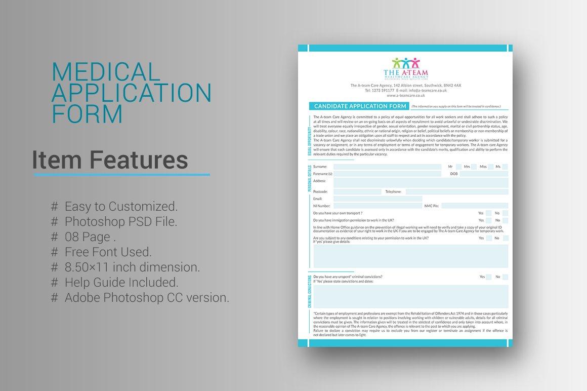 Medical Application Form ~ Stationery Templates ~ Creative Market
