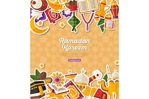 Ramadan Kareem Banner With Flat Stickers