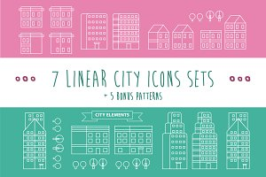 Linear City Infographic Elements.