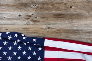 USA Cloth Flag on rustic wood