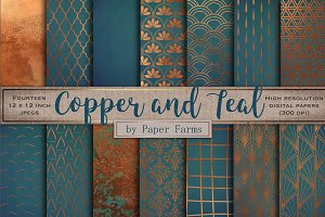Copper teal backgrounds
