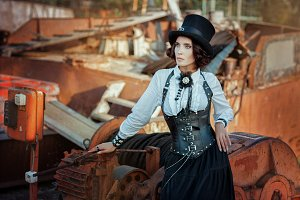Woman in steampunk style.