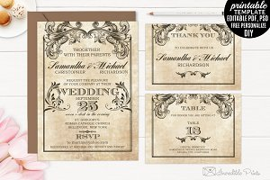 Vintage Victorian Wedding Invitation