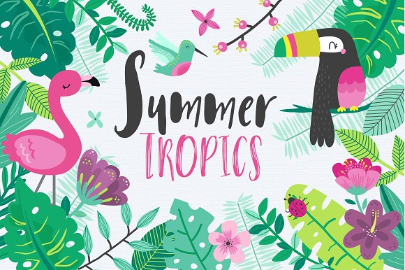 Tropical summer illustrations creative market tropical summer illustrations voltagebd Gallery