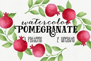 Watercolor Pomegranates