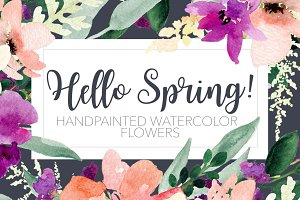 Hello Spring! Hand painted flowers