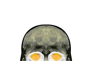 Funny Skull with Fried Egg Eyes