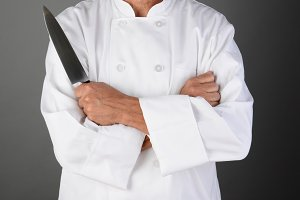 Chef Holding Knife Front View