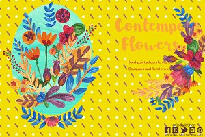 Contemporary Acrylic flowers clipart