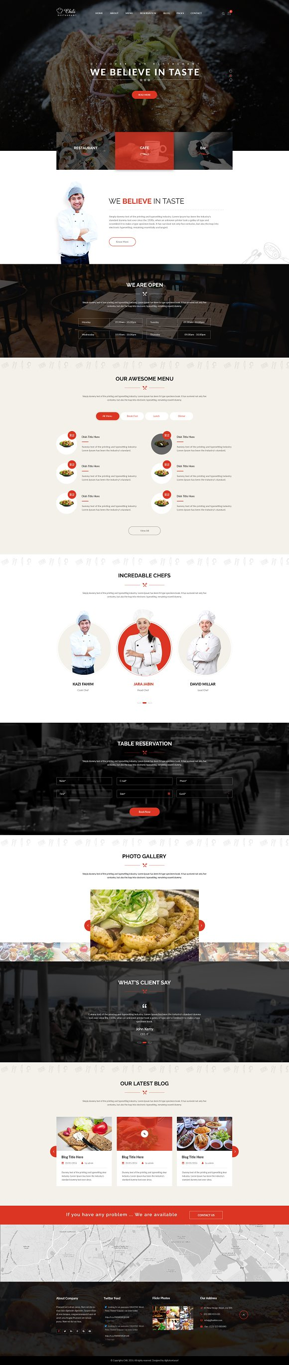Chili Restaurant WordPress Theme