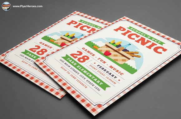 School Out Picnic Flyer Template Flyer Templates on Creative Market – Picnic Flyer Template