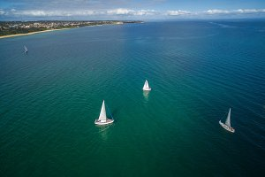 Aerial image of sailboats