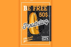 Color vintage parachuting banner