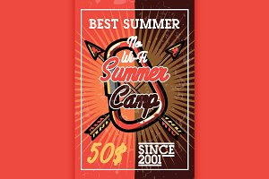 Color vintage summer camp banner