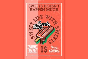 Color vintage sweets shop banner