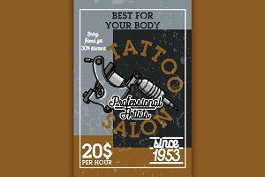 Color vintage tattoo salon banner