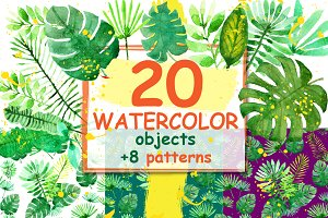 Watercolor tropical plants.