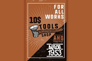 Color vintage tools shop banner