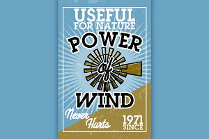 Color vintage wind power banner
