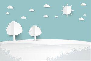 minimalist landscape paper art style