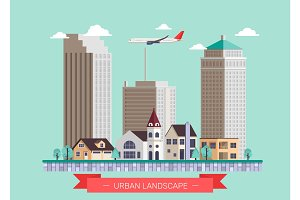 Flat design modern vector illustration icons set of urban landscape and city life.