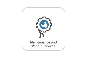 Maintenance and Repair Services Icon. Flat Design.