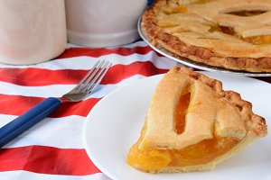 Slice of fruit Pie on Flag Table Clo