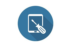 Tablet PC  Repair Service Icon. Flat Design.